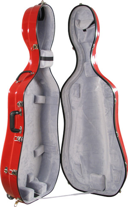 Bobelock Large Cello Case with Wheels - Red/Gray