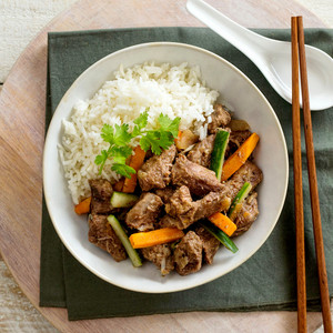 Beef Stir Fry With Rice High Angle