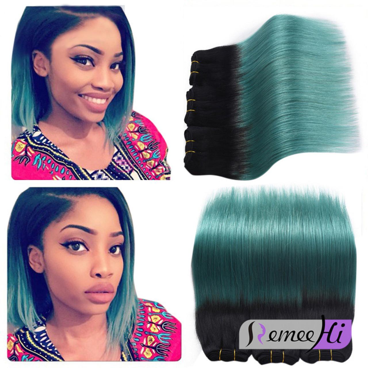 Remeehi Silk Straight Brazilion Remy Hair Weft 1bgreen Human Hair