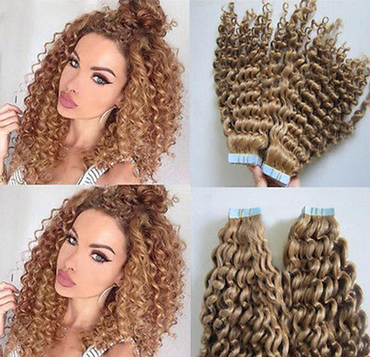 Deep Curly Remy Tape In Human Hair Extensions 20pcs 3gpc Remeehi