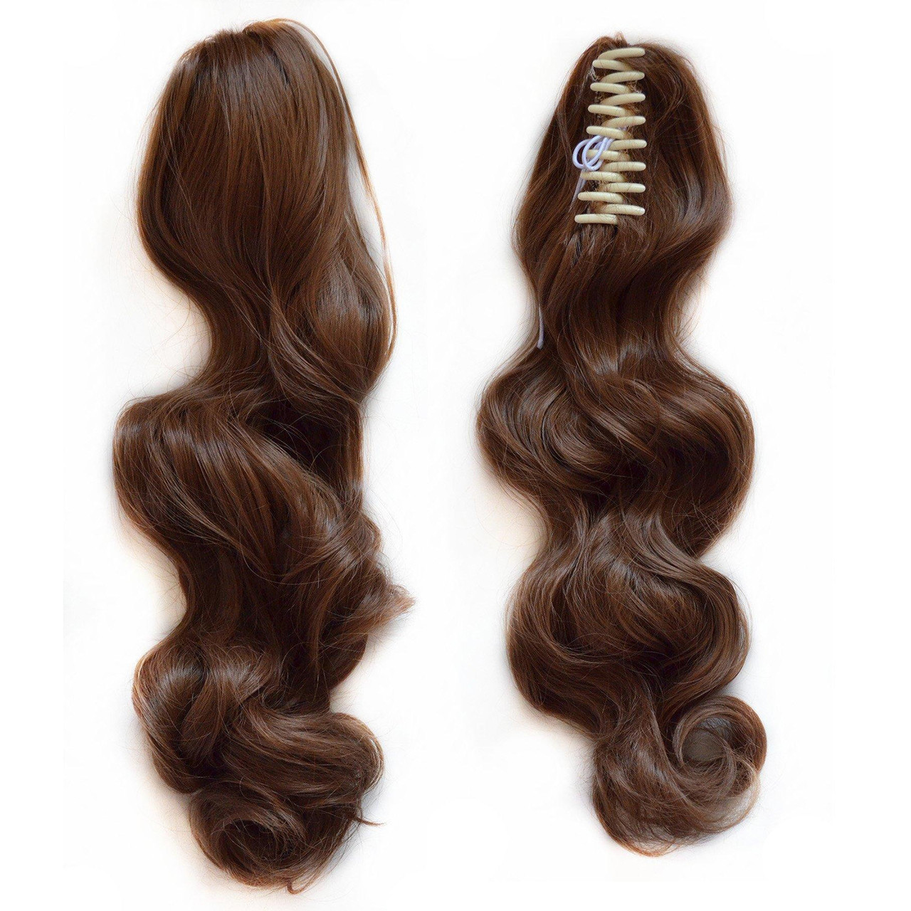 Wavy Real Human Hair Ponytails Hairpiece Claw Clip