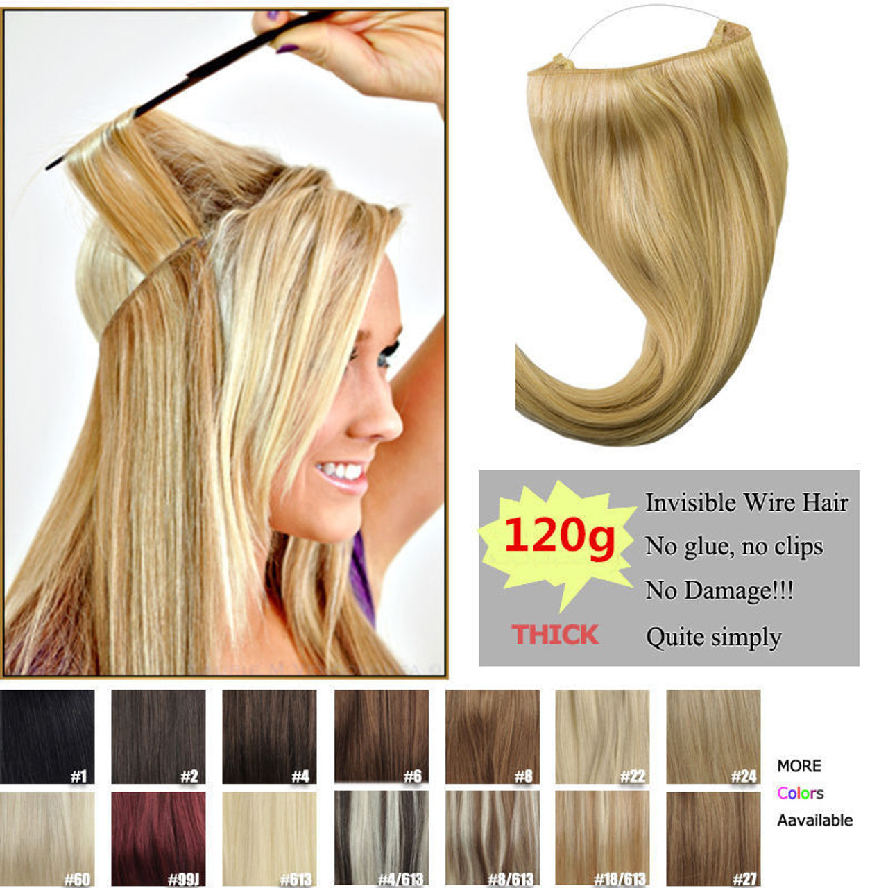 Remeehi 120g Thick Human Remy Secret Invisible Wire Secret Halo Hair