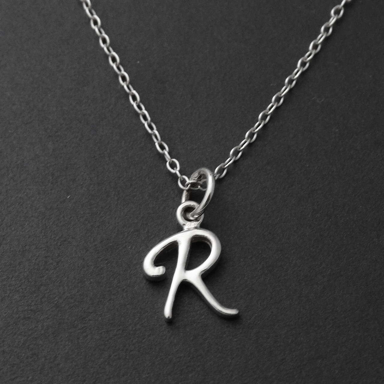 Sterling silver tiny letter r necklace fashionjunkie4life tiny initial letter r necklace sterling silver thecheapjerseys Image collections