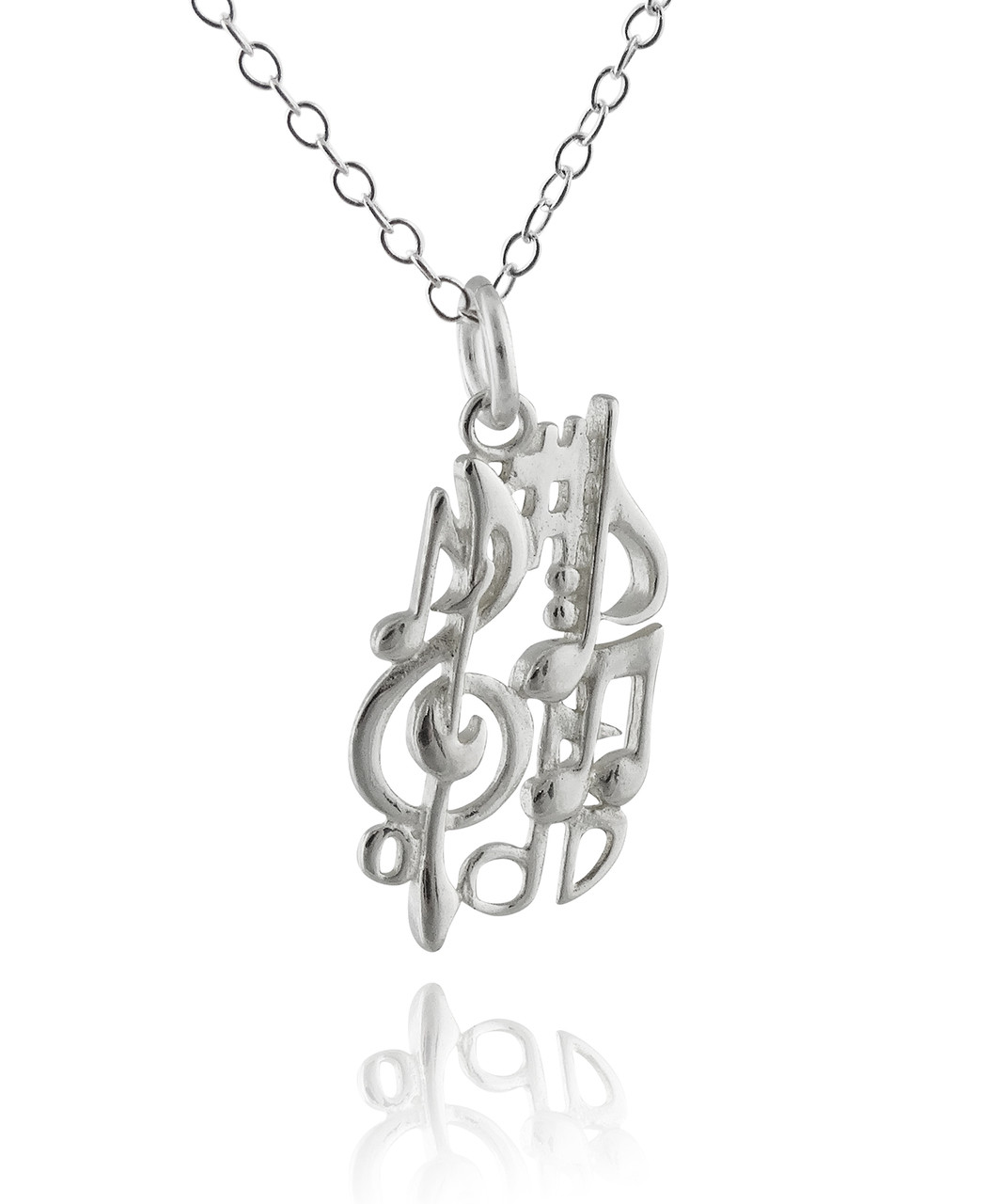 Music Notes Necklace 925 Sterling Silver Fashionjunkie4life