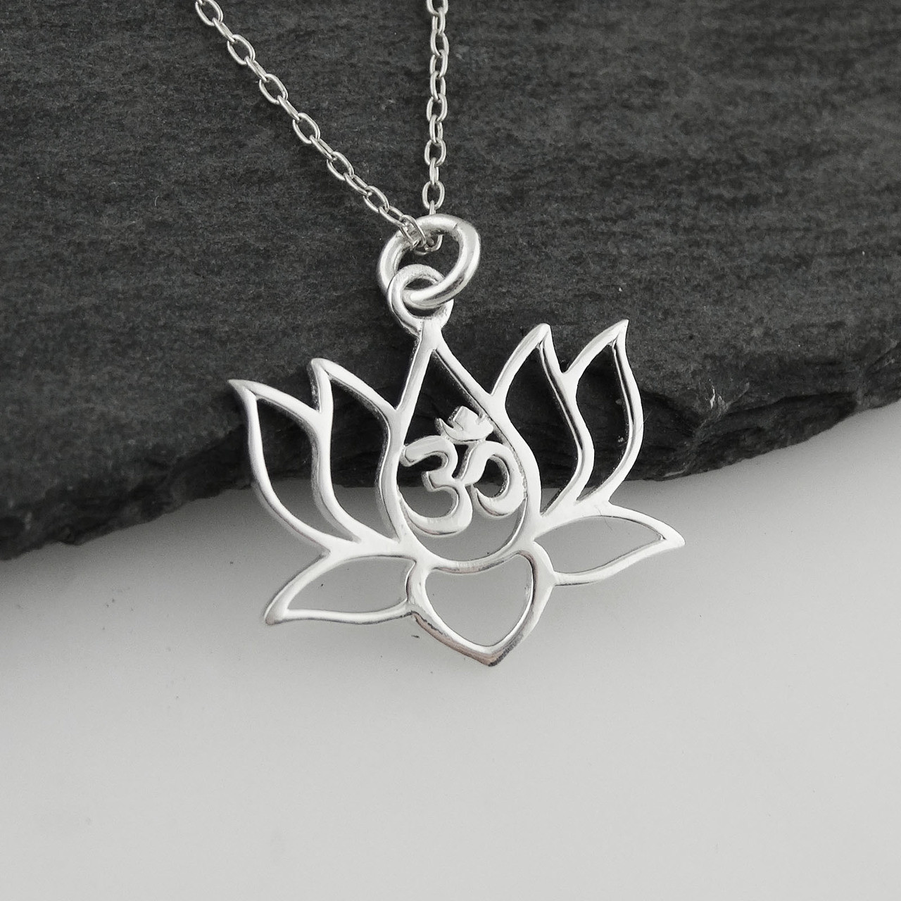 Lotus Flower W Om Cutout Necklace 925 Sterling Silver