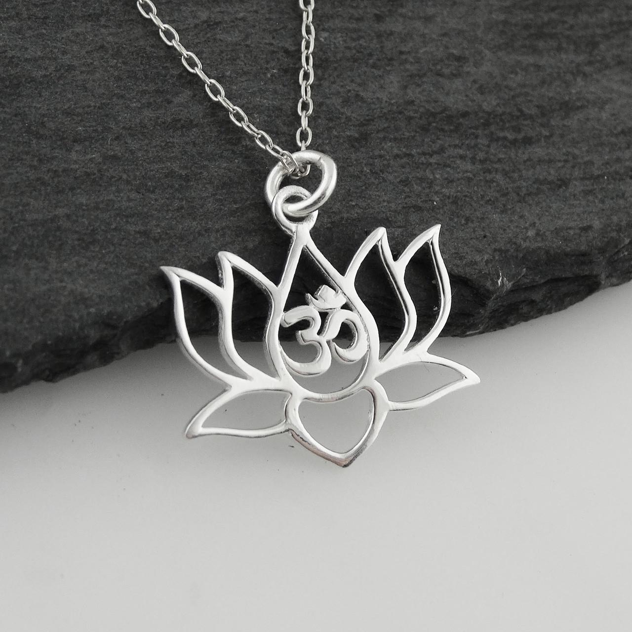 Lotus flower w om cutout necklace 925 sterling silver lotus flower w om cutout necklace 925 sterling silver mightylinksfo