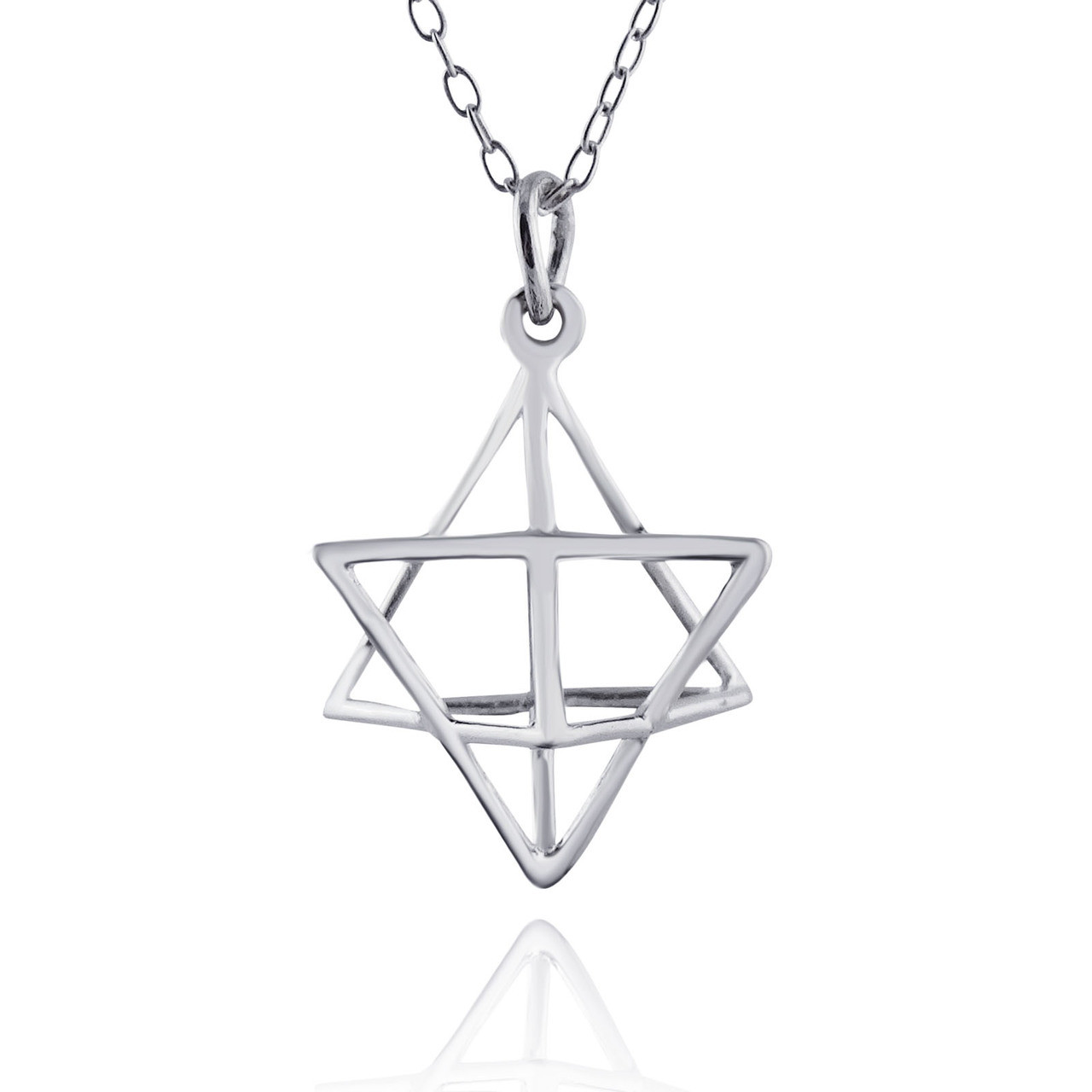 Merkaba Geometry 3D Wire Star Necklace - Sterling Silver ...