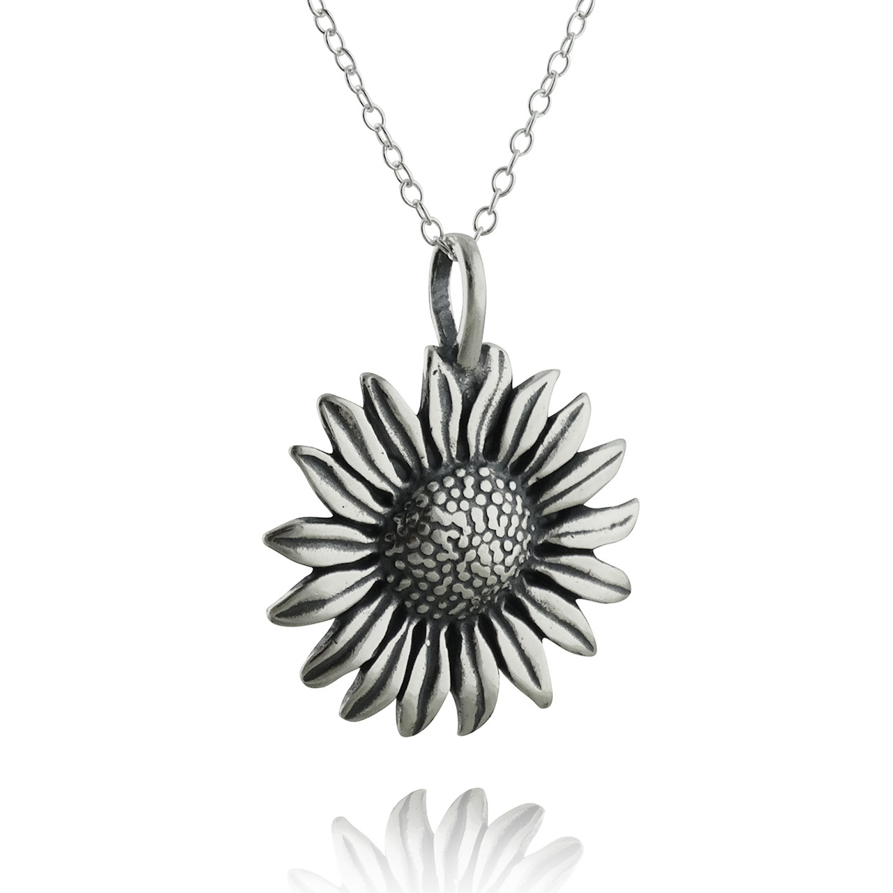 Sunflower pendant necklace sterling silver aloadofball Gallery