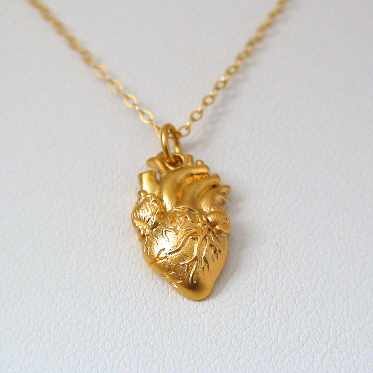 24k gold plate sterling silver anatomical heart necklace gold anatomical heart charm necklace aloadofball Gallery