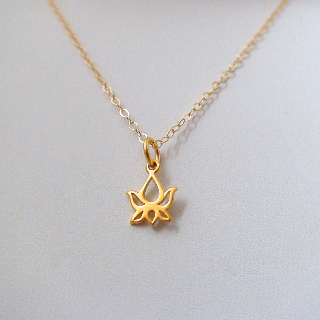 Tiny Lotus Bud Necklace 24k Gold Plated Sterling Silver