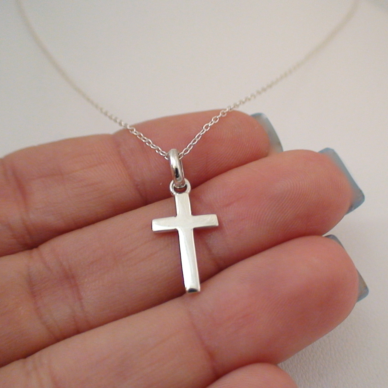 Sterling silver small cross necklace sterling silver cross charm necklace aloadofball Gallery