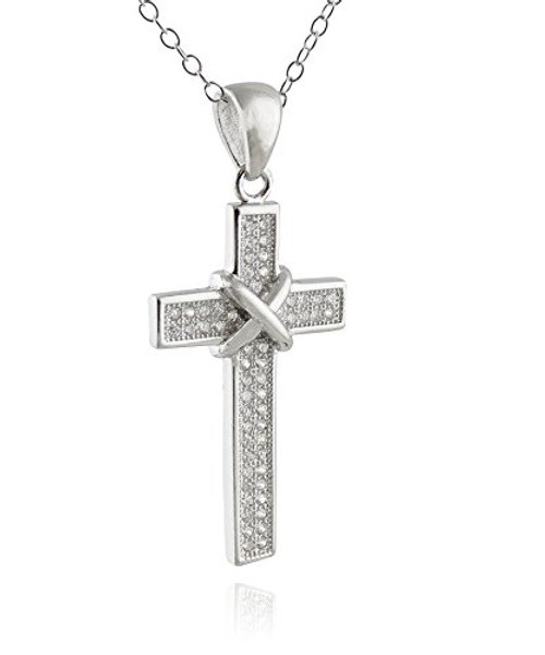 Sterling silver tied cz cross pendant necklace fashionjunkie4life sterling silver tied cz cross pendant necklace aloadofball Choice Image
