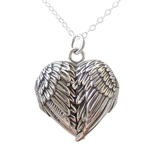Angel wing locket necklace 925 sterling silver fashionjunkie4life angel wing locket necklace 925 sterling silver aloadofball Image collections
