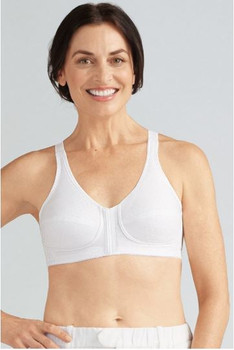 Front & Back Closure Mastectomy Bra By Amoena -Fiber Filled Cup for padded cup feel White