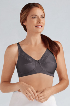 Nancy Lace Mastectomy Bra by Amoena Grey
