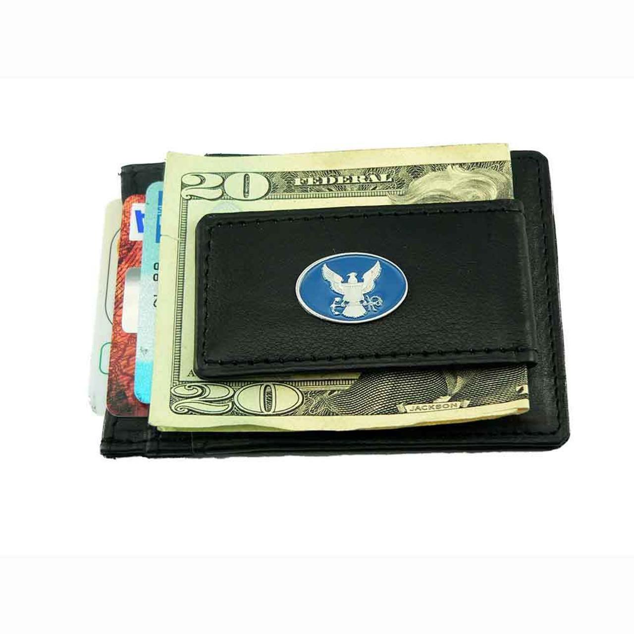 u s navy slimline leather money clip card holder wallet - Money Clip Card Holder