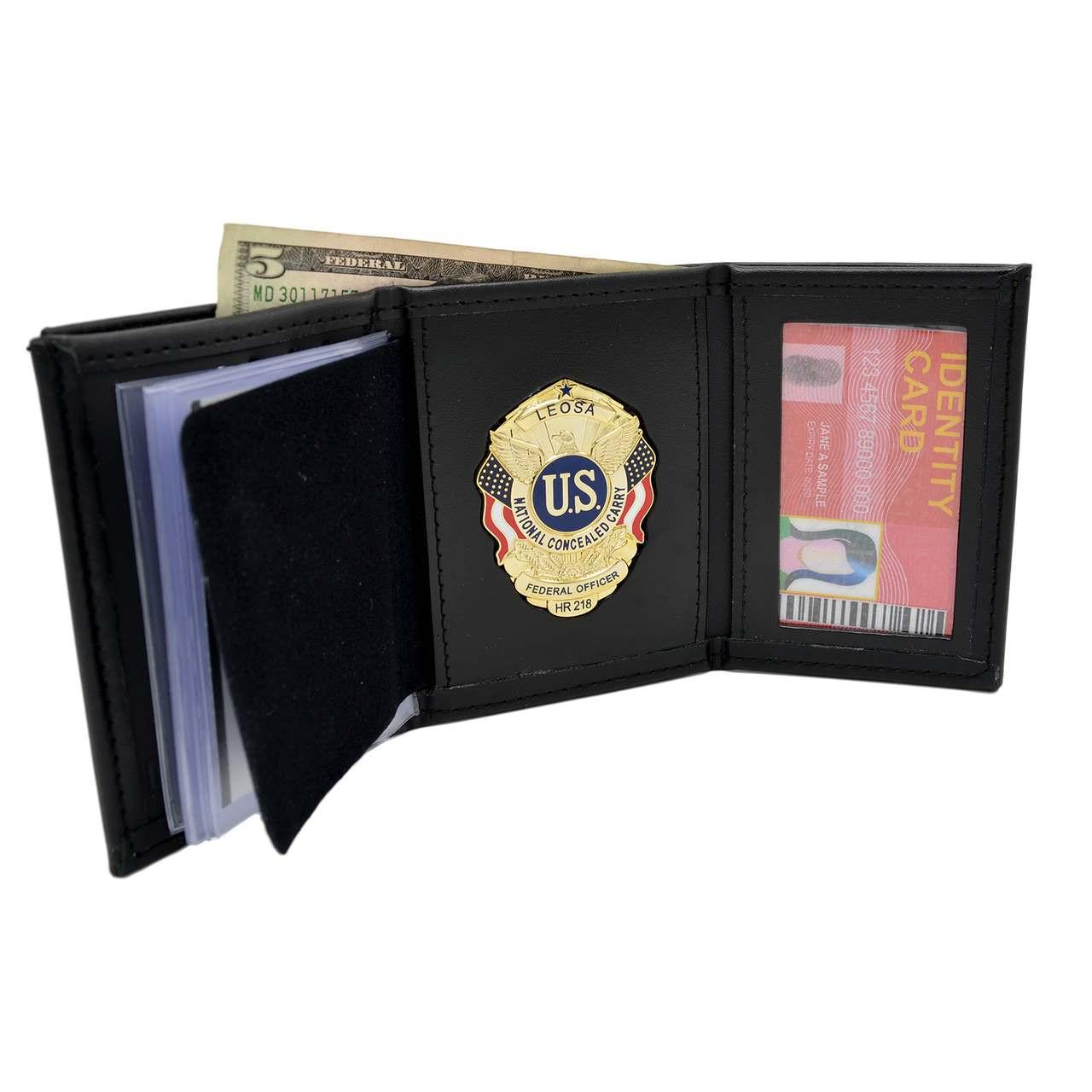 trifold wallet w single id window for leosa badge