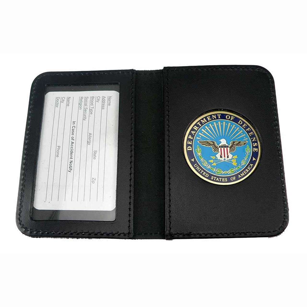 dod defense department leather single id card holder - Id Card Holder