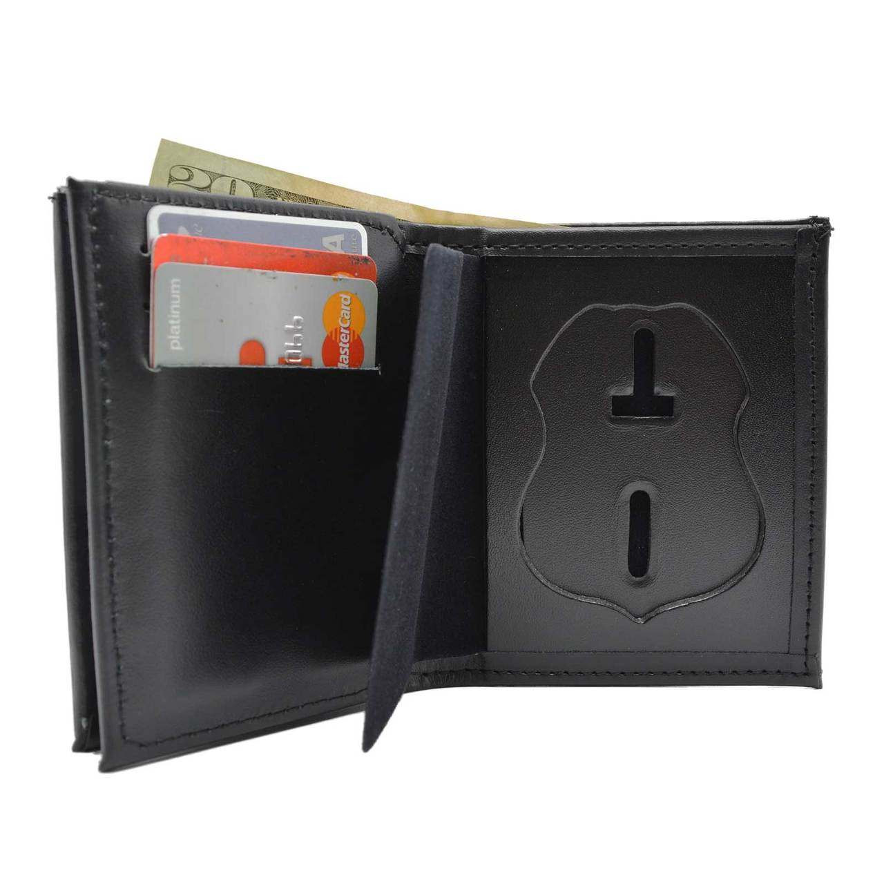 veterans affairs police badge wallet with double id