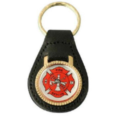 Fire Rescue Leather Key FOB