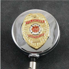 Volunteer Firefighter Mini Badge Retractable ID Holder Reel