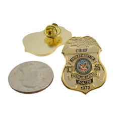 Department of Veterans Affairs Police Chief Mini Badge Lapel Pin
