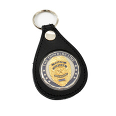 Leather Challenge Coin Holder Key Ring FOB