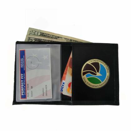 DEA DOJ Drug Enforcement Agency Mens Black Leather Bi Fold Billfold Wallet