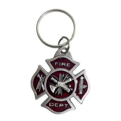 Maltese Cross Pewter Firefighter Key Ring