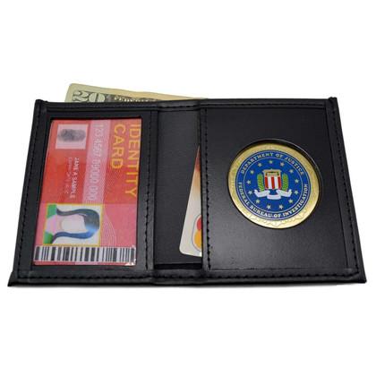 FBI Federal Bureau of Investigations Mens Black Leather Bi Fold Billfold Wallet