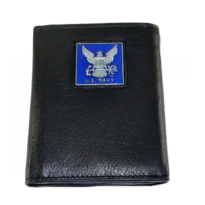 U S Navy Trifold Leather Wallet with Navy Emblem