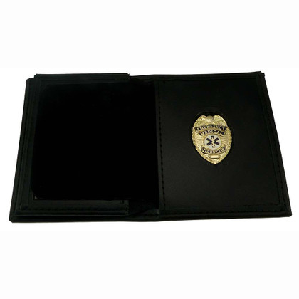 Mens Leather Hidden Badge Wallet EMT Gold