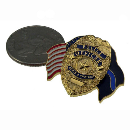 Police Officer US Flag Blue Line Flag Lapel Pin