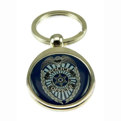 Police Officer Law Enforcement Chrome Steel Key Ring