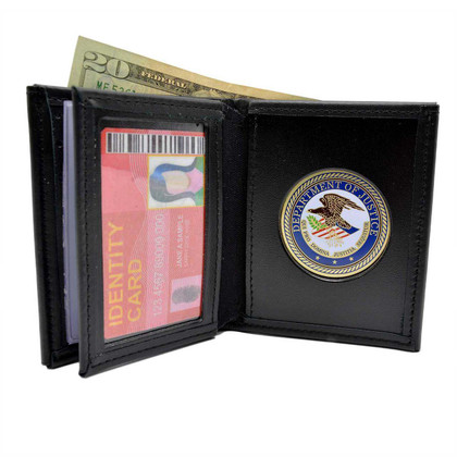 U S Department of Justice Medallion Bi-fold Men's Leather Wallet