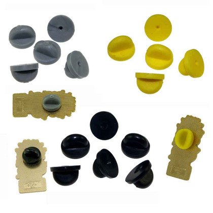 Black Yellow Gray Rubber PVC Pin Clutch Backs