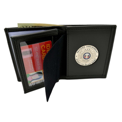 2nd Amendment Concealed Carry Medallion Bi-fold Men's Leather Wallet