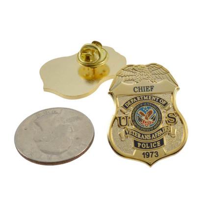 Department of Veterans Affairs Police Chief Mini Badge Lapel Pin