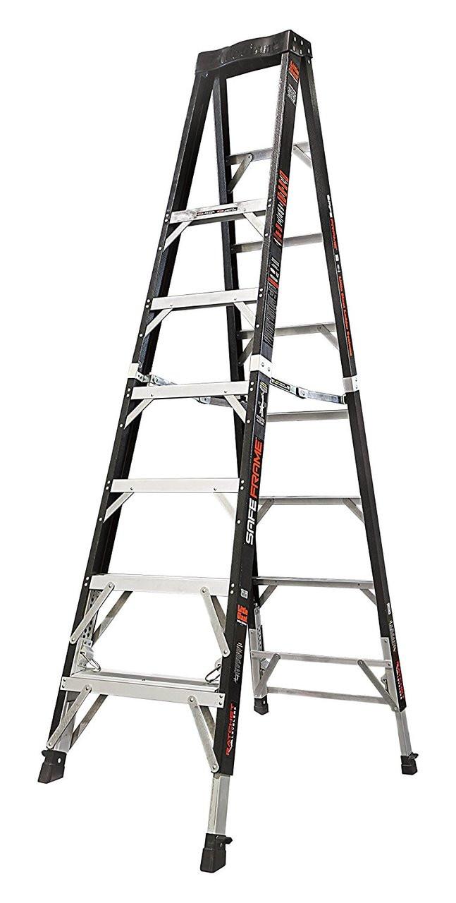 Little Giant Safe Frame 8\' Fiberglass Ladder with Ratchet Levelers ...