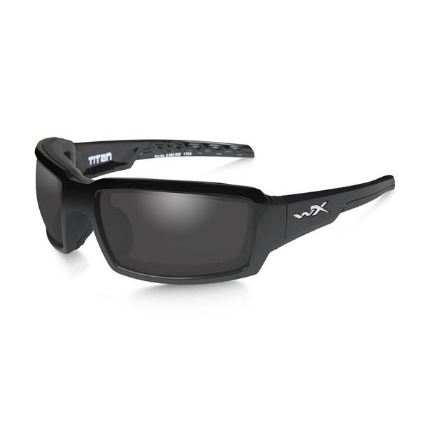 Wiley X CCTTN08 Titan Grey Lens/Gloss Black Frame Ballistic Sunglasses
