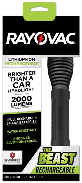 Rayovac The BEAST USB Rechargeable Lithium Flashlight 2000 Lumens