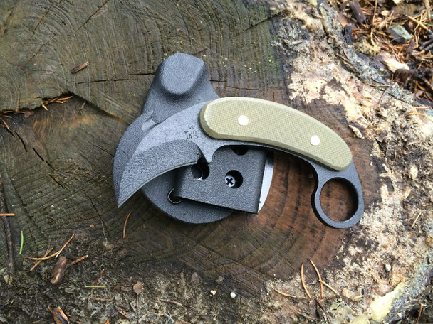 C.T.K. Compact Tactical Karambit, Green textured G10 Handle, Double edge with hook, Black finish