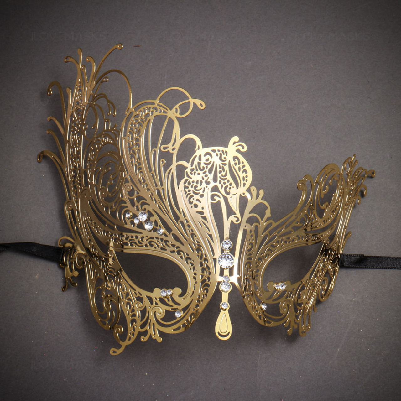 Laser Cut Gold Platinum: Beautiful Swan Metal Laser Cut Silver Stones Masquerade