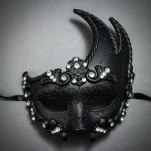 Venetian Masquerade Mask Glitter Silver Rhinestones-Black