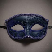 Classic Glitter Venetian Masquerade Mask-Blue