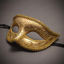 Classic Glitter Venetian Masquerade Mask-Gold