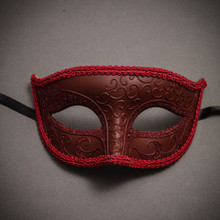 Classic Glitter Venetian Masquerade Mask With Red