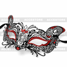 Venetian Fox Masquerade Mask with Bling Rhinestones - Black Red
