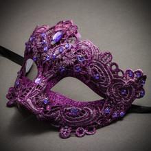 Lace Masquerade Mask Venetian Brocade Purple Crystals-Purple