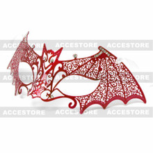 Bat Venetian Masquerade Mask with Silver Rhinestones - Red - 2